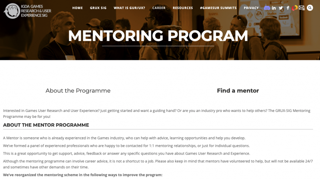 The games user research mentoring programme